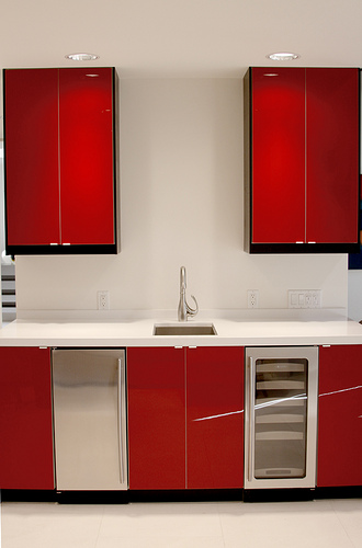 Stark colors with white countertops